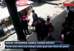 Hamile kadını sokak ortasında tekme tokat böyle dövdü
