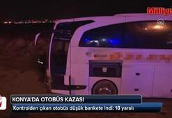 Yolcu otobüsü şarampole indi: 18 yaralı