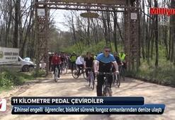 Zihinsel engelliler 11 kilometre pedal çevirdi