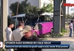 Otobüs kaza sonrası bu hale geldi: 16 yaralı var