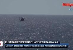 Denizin ortasında mahsur kalan dalgıç helikopterle kurtarıldı
