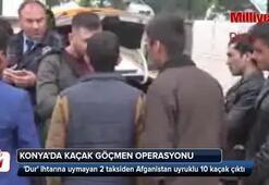 Konyada 2 takside kaçak 10 Afgan yakalandı