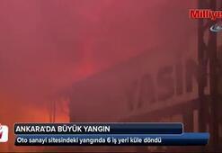 Oto sanayi sitesinde büyük yangın: 6 iş yeri küle döndü