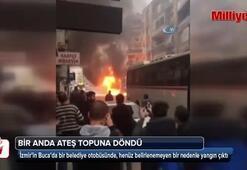 İzmirde yolcu otobüsü alev alev yandı
