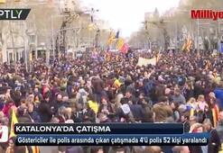 Katalonyada göstericiler polisle çatıştı
