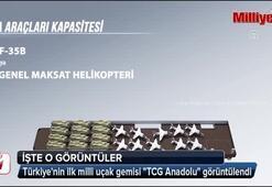 Türkiyenin ilk milli uçak gemisi TCG Anadolu görüntülendi