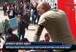 TSK, Afrin merkezde halka sıcak yemek dağıttı