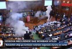 Kosova meclisinde gaz bombası atıldı