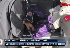 Kömür torbalarına saklanmış 60 kilo eroin ele geçirildi