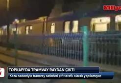 İstanbulda tramvay raydan çıktı