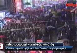 Kadınlardan İstiklal Caddesinde büyük yürüyüş
