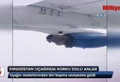 Kırgızıstan'a ait Tezjet uçağında korku dolu anlar kamerada