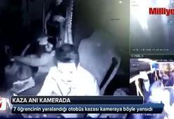 7 öğrencinin yaralandığı otobüs kazası kamerada