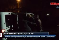 Bursada şehrin göbeğinde kaçak define kazısı
