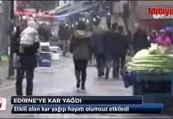 Edirneye kar yağdı