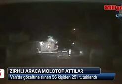 Teröristler zırhlı araca böyle molotof attı
