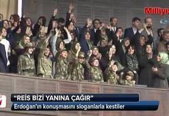 Erdoğanın konuşmasını sloganlarla kestiler