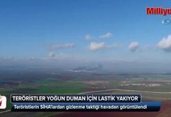 Teröristlerin SİHAlardan gizlenme taktiği havadan görüntülendi