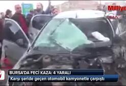 Karşı şeride geçen otomobil faciaya sebep oldu