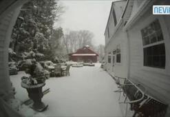 38 saniyede kar yağışı...