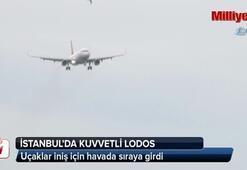 İstanbul'da etkili olan lodos, uçaklara zor anlar yaşatıyor