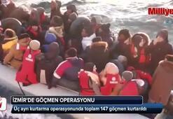 İzmir'de 31i çocuk 147 kaçak göçmen kurtarıldı