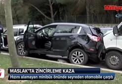 Maslak'ta zincirleme kaza: 1'i çocuk 4 yaralı