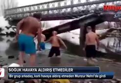 Kar altında Munzurda yüzdüler