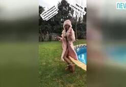 Eliz Sakuçoğludan buz gibi havada bikinili dans