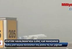 Atatürk Havalimanında ilginç kar manzarası