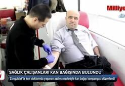 Sağlık çalışanları kan bağışında bulundu