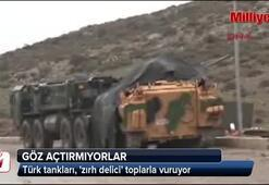 Afrinde Türk tankları, zırh delici toplarla vuruyor