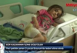 Süt kazanına düşen 2 çocuk yaralandı