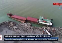 Karaya oturarak ikiye bölünen gemi havadan görüntülendi