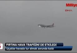 Hava trafiğine fırtına engeli
