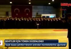 Uçak kazasında şehit olan askerler için uğurlama töreni