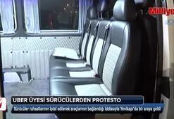 UBER üyesi sürücülerden protesto