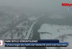İstanbul'da geçen yıl ile bu yıl arasındaki sıcaklık farkı havadan görüntülendi
