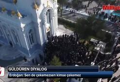Erdoğan ile muhabir arasında güldüren diyalog