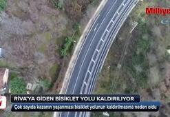 Rivaya giden bisiklet yolu havadan görüntülendi