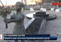 Atatürke çiçek veren kızın heykelindeki kömürler çalındı
