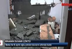 Eyüpsultan Yeşilpınarda bir binanın duvarı çöktü