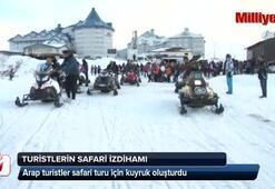 Uludağda Arap turistlerin karda safari izdihamı