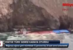 Türk şirketine ait gemi Mikanos adası yakınlarında karaya oturdu