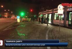 Tramvaya çarptı