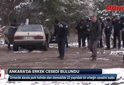 Ormanlık alandaki otomobilde erkek cesedi bulundu
