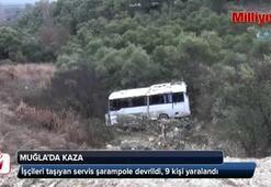 İşçileri taşıyan servis şarampole devrildi, 9 kişi yaralandı