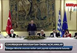 Cumhurbaşkanı Erdoğan, Atinada onuruna verilen yemekte konuştu