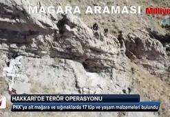 Hakkari'de PKK'ya ait mağara ve sığınaklarda 17 tüp ve yaşam malzemeleri bulundu