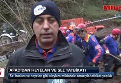 Trabzonda heyelan ve sel tatbikatı